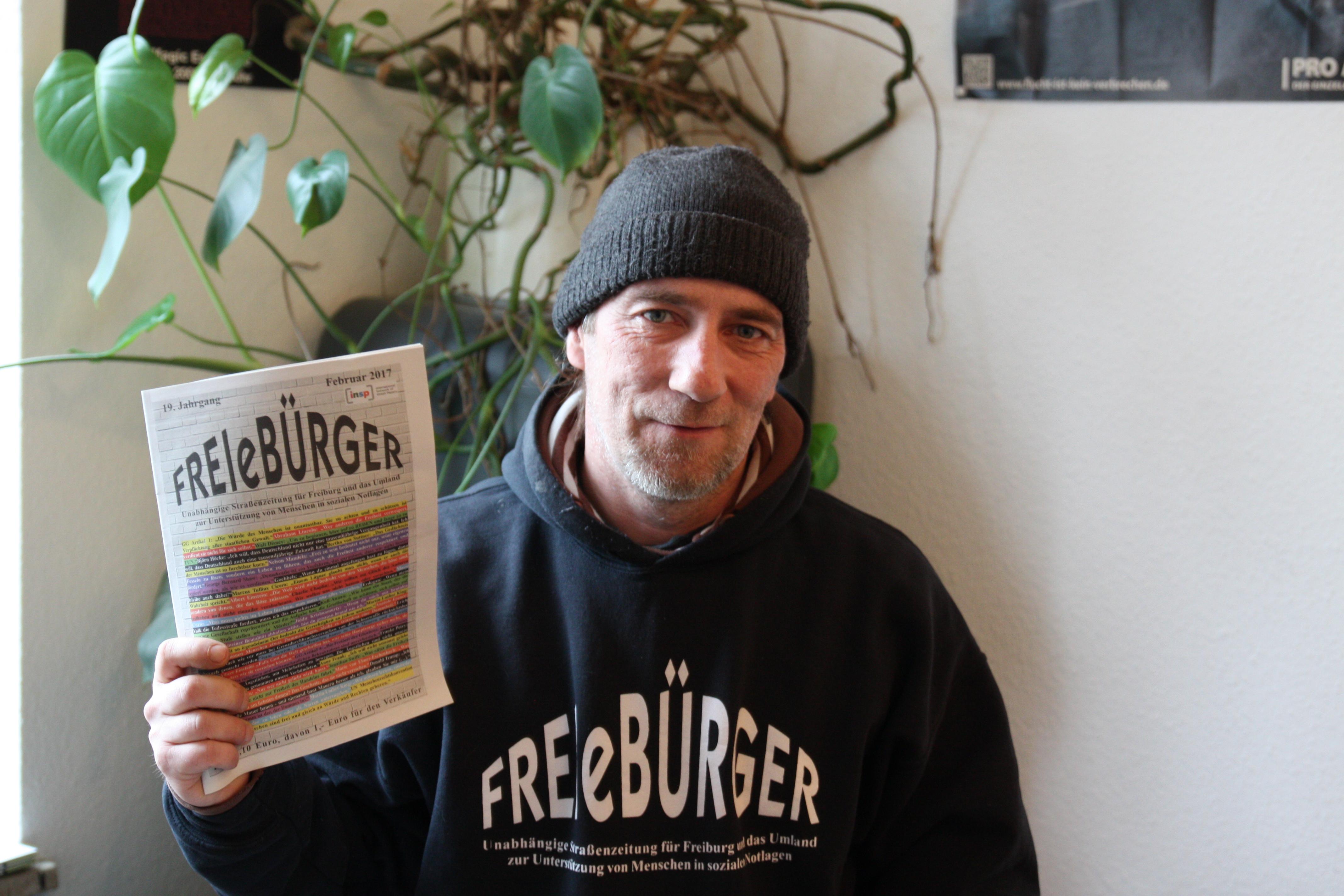 Karsten ist Verkäufersprecher in der Straßenzeitung FREIeBÜRGER.